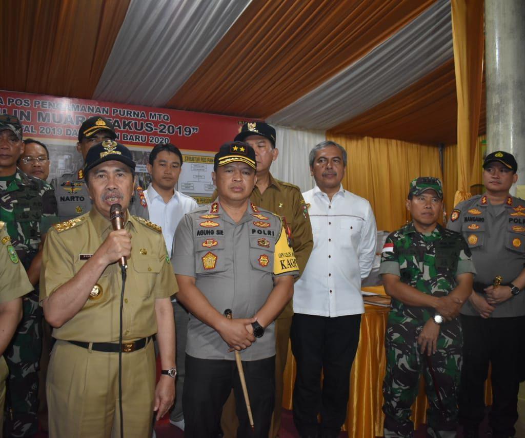 Forkopimda Riau Kunjungi Pos Pengamanan Natal dan Tahun Baru 2020 Polresta Pekanbaru