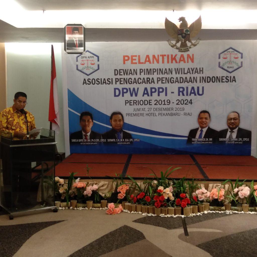 Sukino,SE,SH,MH,PCL,PCPLE Resmi Jabat Ketua DPW APPI Riau Periode 2019-2024